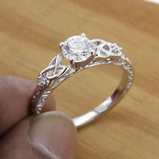 1.00 ct Diamond 14k White Gold Celtic Solitaire Engagement ring for Women's