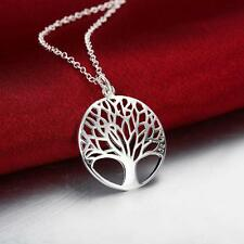 Fashion 925 Sterling Silver Plated Tree of Life Pendant Chain Necklace Jewelry