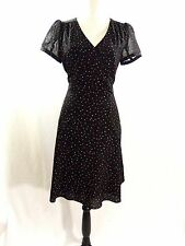 PROMOD Womens Black Red White Square Dots Short Sleeve Lined Career Dress Size 8