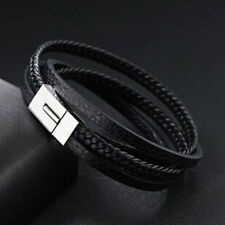 Mens Stainless Steel Black Braided Leather Wrap Rope Bangle Bracelet + Box BR345