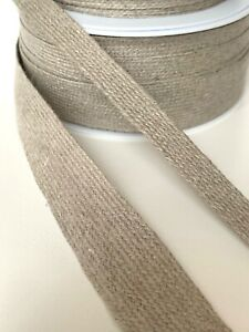 100% Linen French Flat Braid Ribbon Bag 16mm, 25mm, 40mm  - Sold by the metre