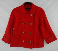 Lauren Ralph Lauren Women's Red Denim Tunic Nautical Gold Button Pea Coat Large