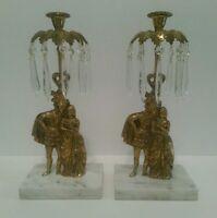 Antique Pair Bronze Candelabra Girandole w/Glass Prisms