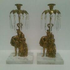 Antique  Bronze Candelabra Girandole Candle holder w/Glass Prisms Pair