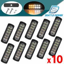 10X Amber/White Truck 12 LED Emergency Safety Flash Warning Strobe Light Kit Bar