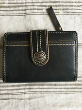 FOSSIL BLACK LEATHER WALLET ID/CC/BILL AND ADORABLE COIN POUCH