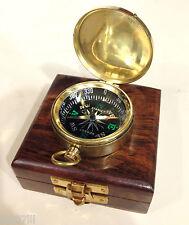 Bussola in ottone lucido cassetta di legno con velluto blu idea regalo nautico