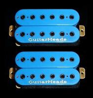 Guitar Parts GUITARHEADS PICKUPS HEXBUCKER HUMBUCKER - Bridge Neck SET 2 - BLUE