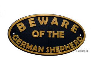 German Shepherd Beware Of The Dog Sign - House Garden Sign Plaque - Black / Gold