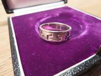 Bezaubernder 925 Silber Ring Sterling Designer Unisex Muster T Retro Modern Top