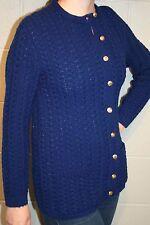 S~M Navy Blue Cable Acrylic Knit Vtg 60s WINTUK Rockabilly Cardigan Sweater