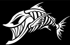 BONE FISH SKULL WINDOW VINYL DECAL HOOD SIDE FOR CAR TRUCK BOAT