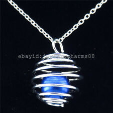 K308 Silver Iron 22mm Round Spiral Ball Beads Cage Pendant Diffsuer Necklace