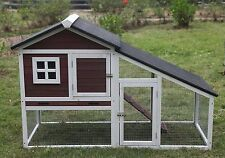 """New 59"""" Solid wood Guinea Pig Ferret Hutch Pet House Coop Cage Suite w Run"""