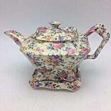 Chintz Teapot & Underplate James Kent England Fenton Rosalynde China Floral