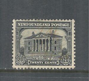 NEWFOUNDLAND SCOTT 157 USED FINE+ - 1928 20c GREY BLACK ISSUE   CV $6.50