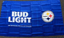 Bud Light Pittsburgh Steelers Flag . Size 3'x5', with grommets