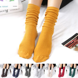 Womens Girls Elastic Cotton Slouch Socks Winter Fall Warm Solid Color Long Socks