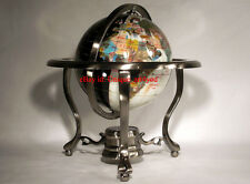 """Special 10"""" Tall White Jade and Black Onyx Ocean Table Top Gemstone World Globe"""