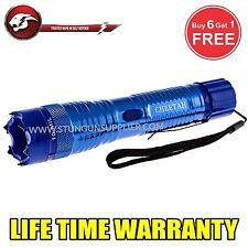 STUN GUN ALL Metal POLICE  10 Million Volt Rechargeable + LED Flashlight -Blue