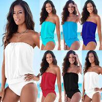 Womens Strapless Monokini One-piece Swimsuit Bikini Swimwear Beach Bathing Suit