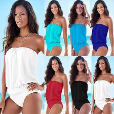 Ladies Strapless Bandeau One-piece Monokini Bikini Swimwear Swimsuit Bathing Set