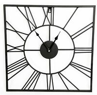 Wall Clock Roman Numeral Square Black Metal Cut Out Home Office Decor 60 & 80 cm