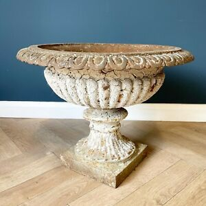 Antique Cast Iron Urn With Old White Crackled Paint Patina Garden Display Urns