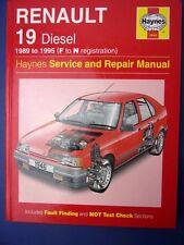 Haynes Service and Repair Manual Renault 19 Diesel 1989 to 1995 F to N reg(1712)