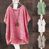 Womens Short Sleeve Scoop Neck Linen Retro Casual Loose Tops Blouse T-shirt Tee