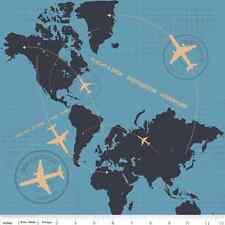 Fat Quarter Detour Plane Flight Path Blue Cotton Quilting Fabric  World Atlas