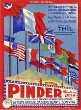 """""""PINDER 1938"""" Affiche originale entoilée Litho M. ORCEL 32x42cm (Marcel THIL)"""