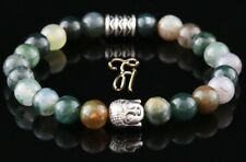 Indian Agate Bracelet Pearl Bracelet Buddha Head Silver 8mm