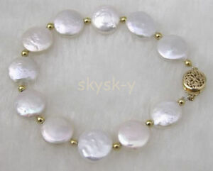 """Fashion Handmade Natural White 11-13mm Coin Freshwater Pearl Bracelet 8""""AAA"""