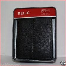 Relic Men's LEATHER Bifold TRAVELER Wallet - ZIPPER Area Organizer ID BLACK =NEW