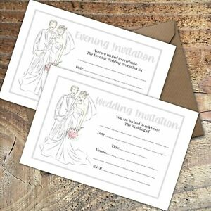 WEDDING INVITATIONS BLANK CLASSIC GREY BRIDE & GROOM DAY & EVE,PACKS OF 10