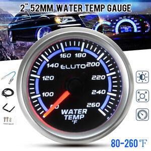 2'' 52mm 80-260°F Water Temp Temperature Gauge Car Meter LED Display w/ Sensor