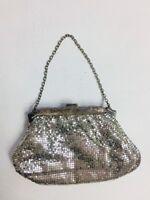 Vintage Art Deco Whiting & Davis Silver Metal Mesh Small Evening Purse Clutch