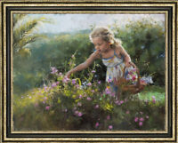 Hand-painted Original Oil Painting art Impressionism Small girl on canvas 30x40""