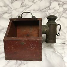 Antique Carbide Light Lamp Mounted On Dovetailed Box w/Handle Mining