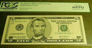 FR 1991-G* Star 2003A $5 Federal Reserve Note PCGS 66 EPQ   GEM NEW LLOW DIGIT