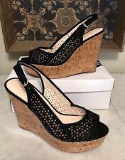 NINE WEST Womens Size 9.5  Black Wedge Sandals Shoes NIB