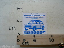 STICKER,DECAL MINI CAR AUTO FONS VAN DORST BEGEN OP ZOOM