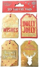 Christmas Gift Tags Pack 20 Label Kraft Luggage Present Wrap Supplies Brown