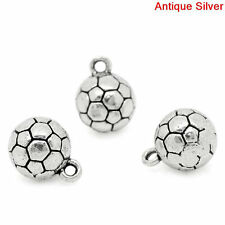 5pcs Tibetan Silver SOCCER BALL Charm Pendant Bead Jewellery Making 10*13mm