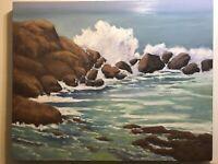 ART OIL PAINTING ORIGINAL SEASCAPE CALIFORNIA BEACH IMPRESSIONIST