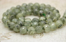 Prehnite, Natural Prehnite Faceted Round Sphere Ball Frosted Gemstone Beads