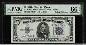 1934D $5  SILVER CERTIFICATE  FR1654WI WIDE I   PMG 66 GEM UNCIRCULATED  EPQ