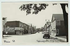 RARE RPPC Springville NY 1940 Real Photo Postcard Street Scene Mobil Gas etc