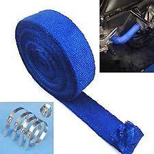 10ft Blue Exhaust Heat Wrap Header Tape + 4 Steel Ties Motorcycle Car Boat